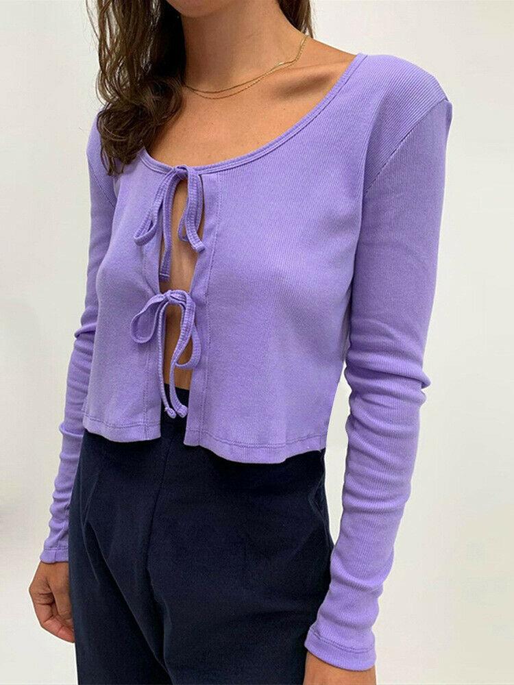 2020 Summer Autumn Women Korean Fashion Sexy Long Sleeve Open Front Tied Up Knitting Cardigan Crop Top Purple Short Sweaters