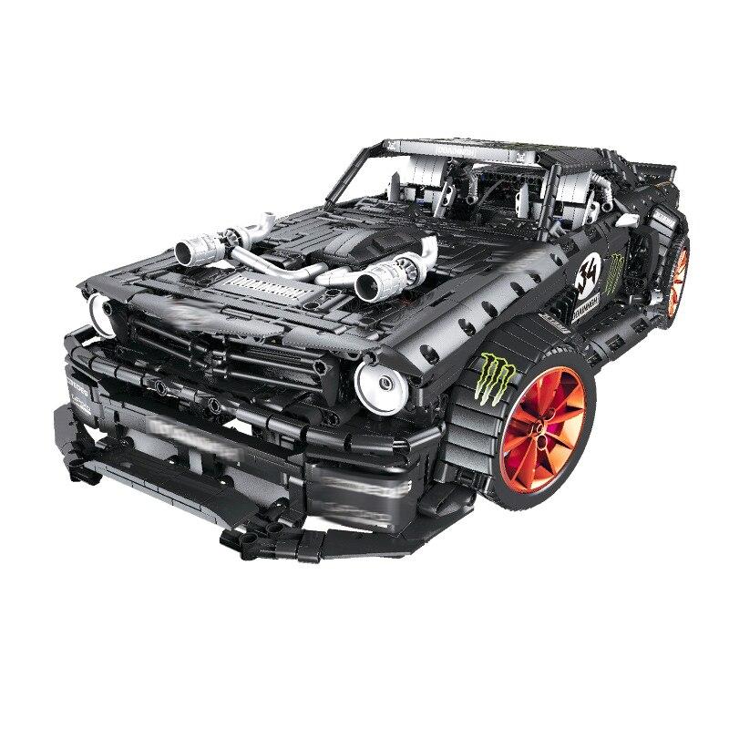Ford Mustang Hoonicorn RTR V2 Racing Car with power function led light legoinges Technic MOC-22970 building block bricks Kids 17