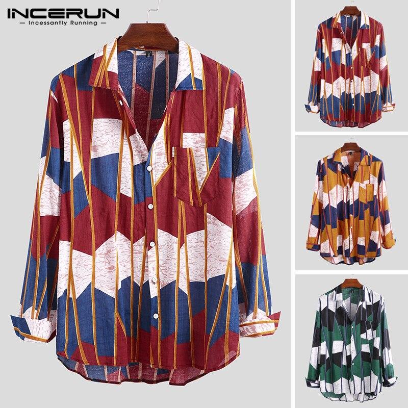 Men Brand Shirt Stylish Button Long Sleeve Geometric Printed Streetwear Hawaiian Casual Shirts Men Camisa Masculina INCERUN 2020