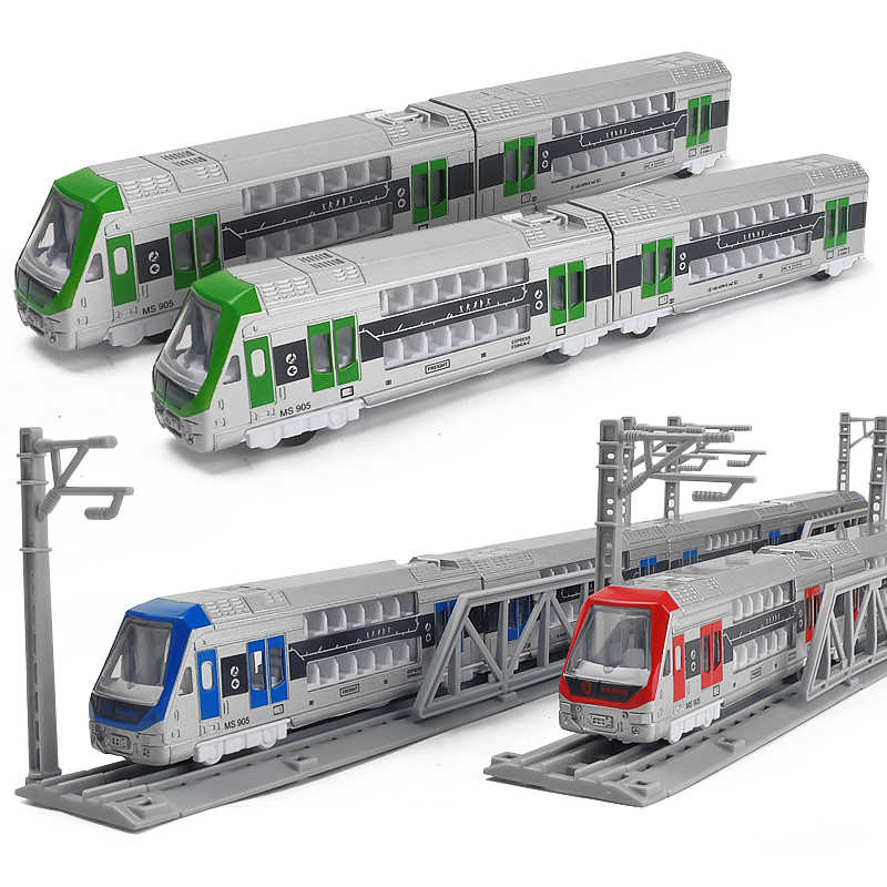 1:32 high simulation double-decker train alloy model magnetic motor train high-speed rail toy harmony number children train