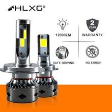 HLXG 12000LM H11 H1 H4 H7 LED Canbusไม่มีข้อผิดพลาดชุดรถ6000K 8000K 9005 HB3 HB4 9006 H8 Mini Auto Fog Light 12V