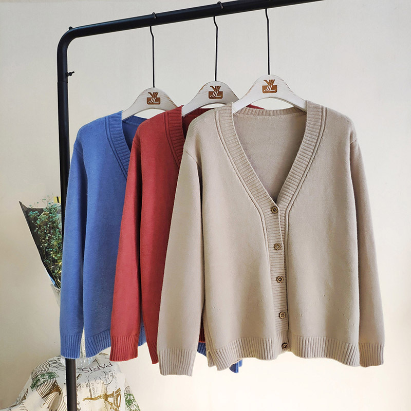 Women Outerwear Sweaters Autumn Winter Korean Fashion Slim V neck Knit Cardigans Long Sleeve Single Breasted Cardigan in Cardigans from Women 39 s Clothing