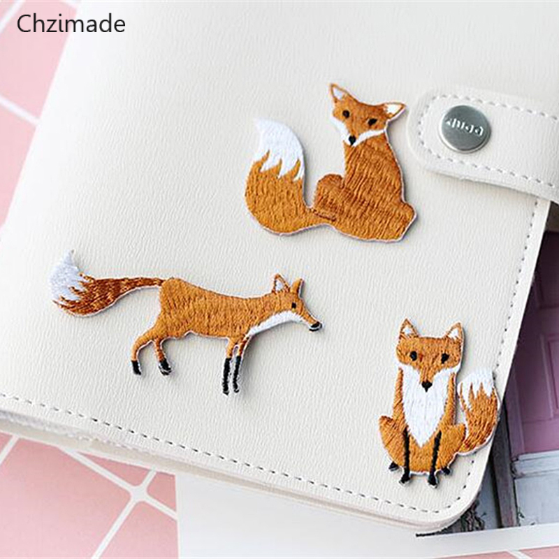 Chzimade Cute Fox Embroidered Patches For Clothes Bags Applique Embroidery Patches Iron On Patch Diy Sewing Crafts Hot Sale 11 11 Double 11