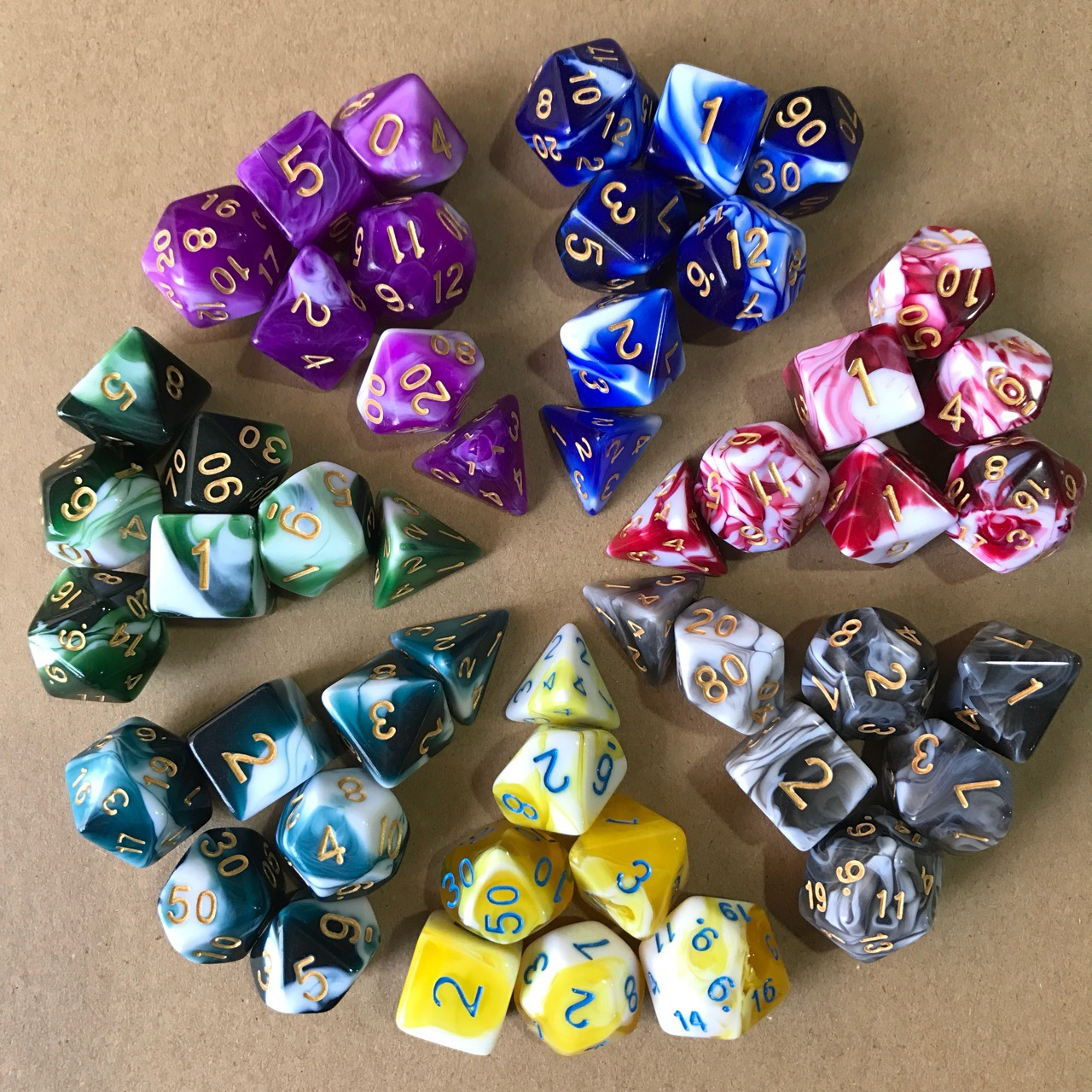 NEW 7pcs/lot Resin Multifaceted Dice D&d D4 D6 D8 D10 D% D12 D20 Dice For Polyhedral TRPG Games Board Game Dice Hot