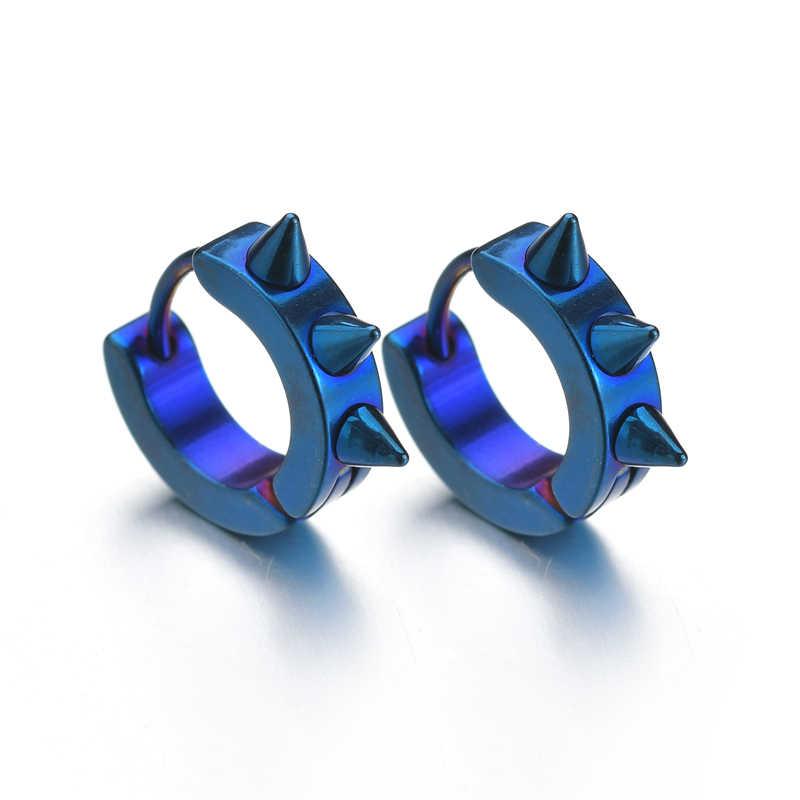 Punk หูที่มีสีสันแหวนผู้ชายสแตนเลส Cool แหวนหูหญิงทองสีดำเครื่องประดับของขวัญ