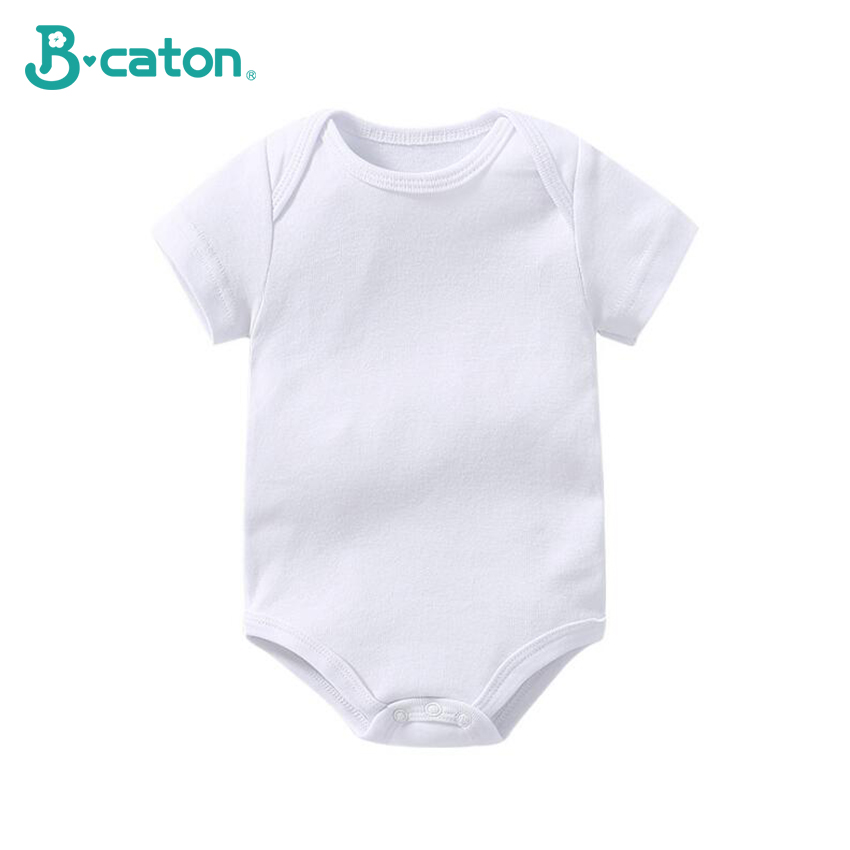 Newborn Baby Clothes Baby Rompers Short Sleeve Girl And  Boy Clothing  Baby Suit 100%Cotton Soft Breathable White 0-18 Months