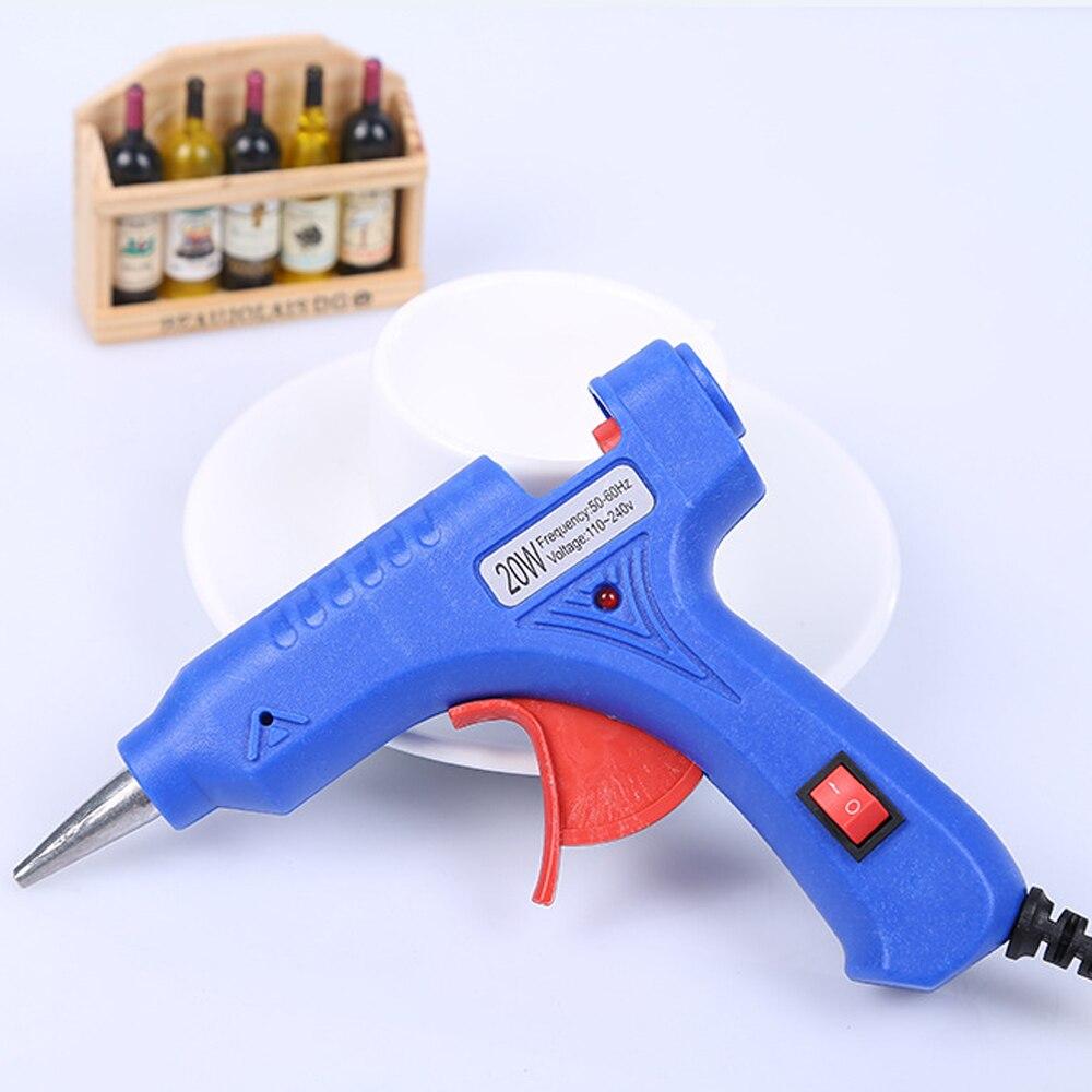 20W Hot Glue Gun Set With 7x100mm Hot Melt Glue Sticks Tweezers High Temp Heater Repair DIY Tool Mini Guns
