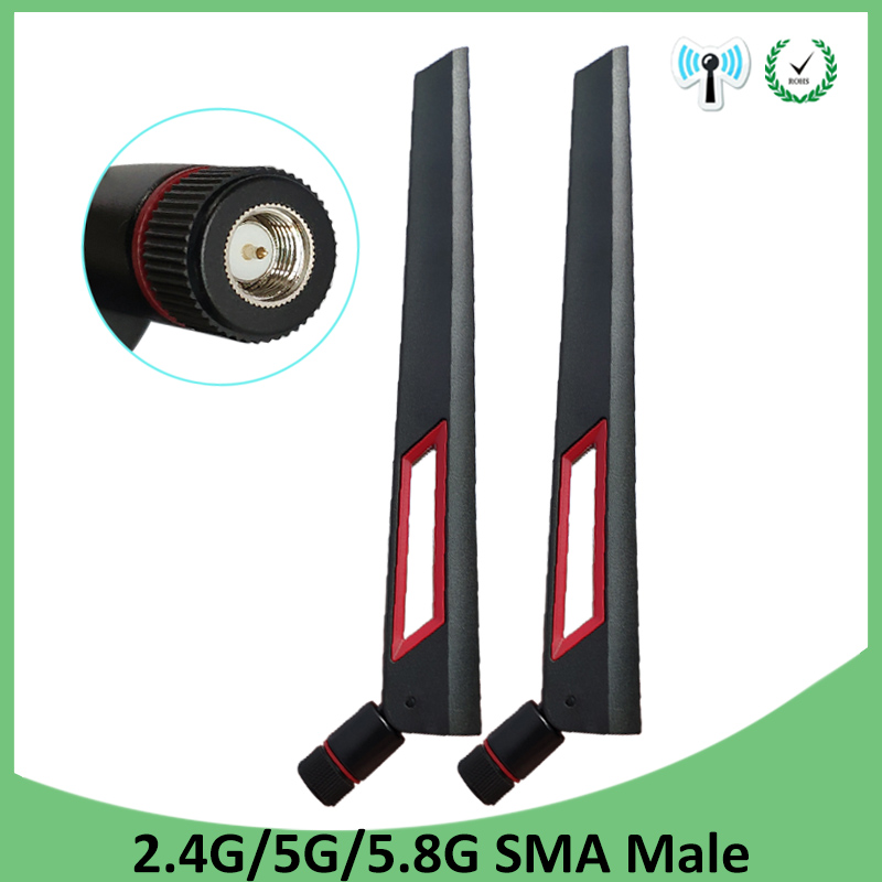 2pcs 2.4GHz 5GHz 5.8Ghz Antenna Real 8dBi SMA Male Connector 2.4g 5.8g Dual Band Wifi Antena Wireless Router 2.4 Ghz 5.8 Ghz