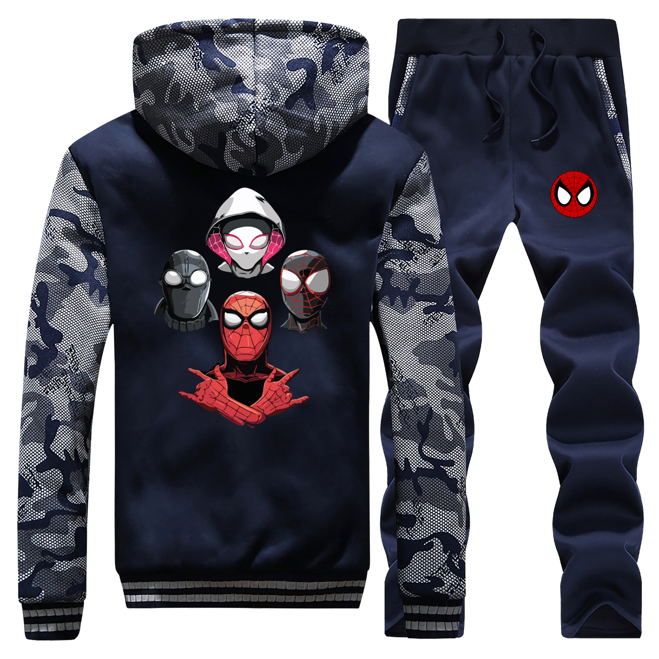 New 2019 Winter Men Camouflage Hoodies Spiderman Parallel Universe Cartoon Coat Thick Sportswear Warm Jackets+2 Piece Set Pants
