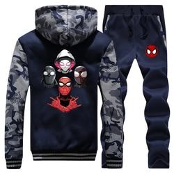 New 2019 Winter Men Camouflage Hoodies Spiderman Parallel Universe Cartoon Coat Thick Sportswear Warm Jackets2 Piece Set Pants