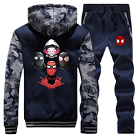 New 2019 Winter Men Camouflage Hoodies Spiderman Parallel Universe Cartoon Coat Thick Sportswear Warm Jackets+2 Piece Set Pants