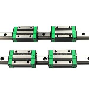 Image 3 - 2 sztuk HGR20 HGH20 kwadratowa prowadnica liniowa dowolna długość + 4 sztuk blokujący przesuwanie się wózka HGH20CA /Flang HGW20CC CNC części Router grawerowanie