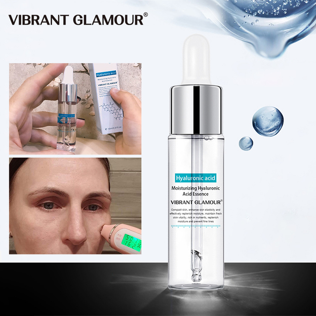 VIBRANT GLAMOUR Hyaluronic Acid Face Serum Anti-Aging Shrink Pore Whitening Moisturizing Essence Face Cream Dry Skin Care 15ml 3