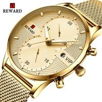 Ödül İş Mens saatler üst marka lüks Chronograph su geçirmez Quartz saat erkekler paslanmaz çelik spor tarihi kol saati