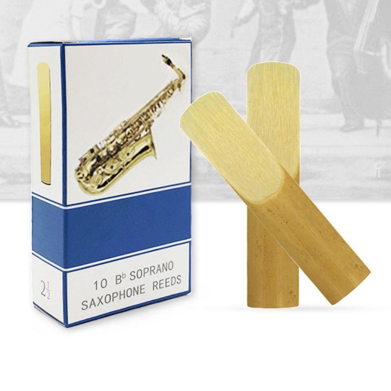 10pcs/set Saxophone Reeds Light Yellow Alto/Soprano/Tenor Saxophone Reeds Strength 2.5 Bb Clarinet Reed