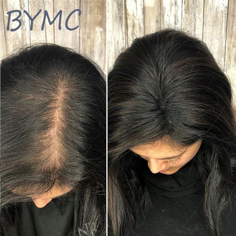 Natural Black Hair Loss Concealer BOOST Hair Volume Instantly Invisible Real Remy Human Hair Silk Base Topper For Women Clip
