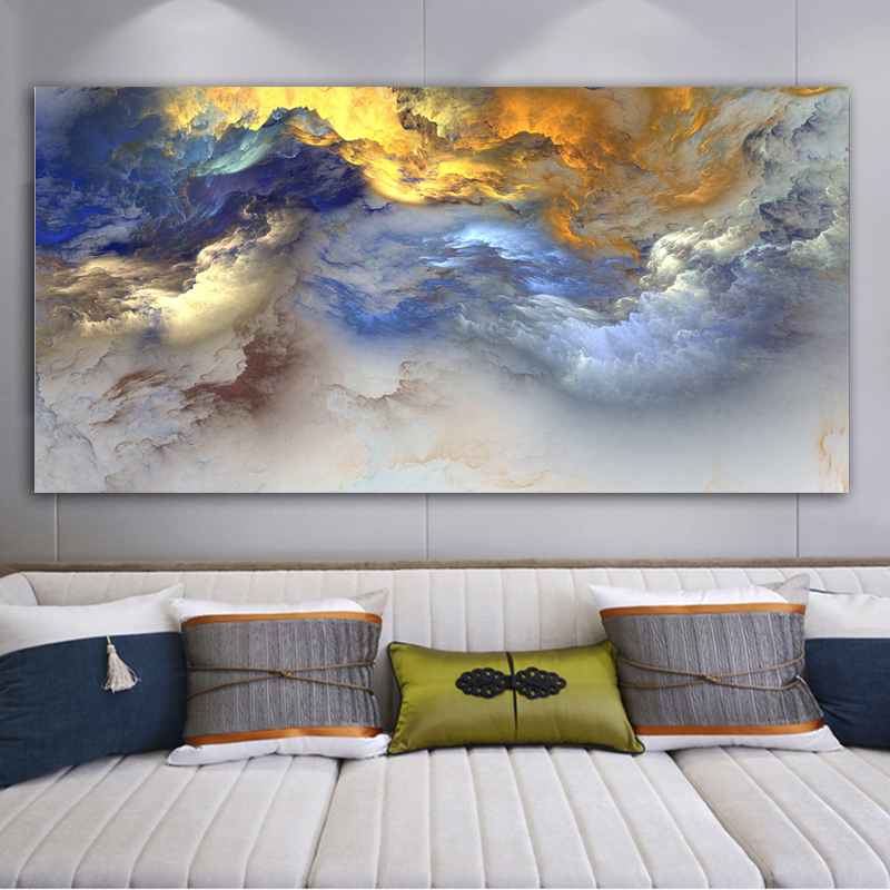 Abstract Art Canvas Painting Colorful Clouds Wall Art Pictures For Living Room Bedroom Home Decor Printed On Canvas No Frame