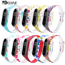 BOORUI mi band 3 strap Comfortable Colorful mi band strap with varied flowers printing for xiaomi miband 3 smart bracelets