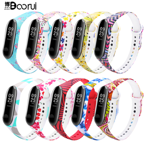 Image 1 - BOORUI mi band 3 strap Comfortable Colorful mi band strap with varied flowers printing for xiaomi miband 3 smart bracelets