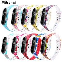 Ремешок BOORUI для mi band 3, удобный цветной браслет с разнообразным цветочным принтом для смарт браслетов xiaomi mi band 3