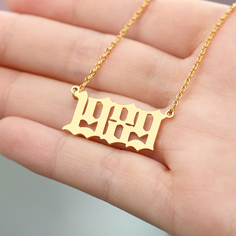Personalized Custom Year Number Necklaces For Women Men Gold Silver Color Stainless Steel Long Chain Pendant Necklace Jewelry Shop The Nation