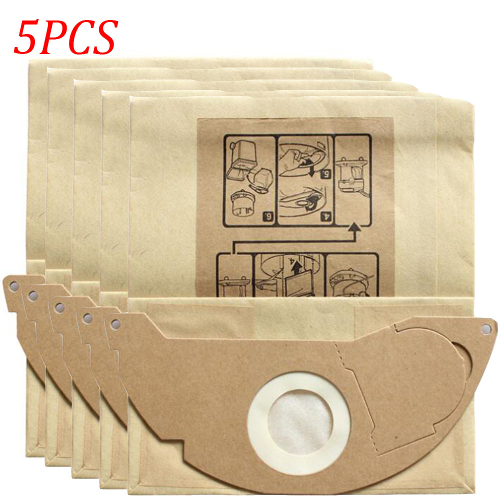 5PCS Vacuum Cleaner Paper Dust Bags For Karcher A2000 2003 2004 2014 2024 2054 2064 2074 S2500 WD2200 2210 Replacement Parts
