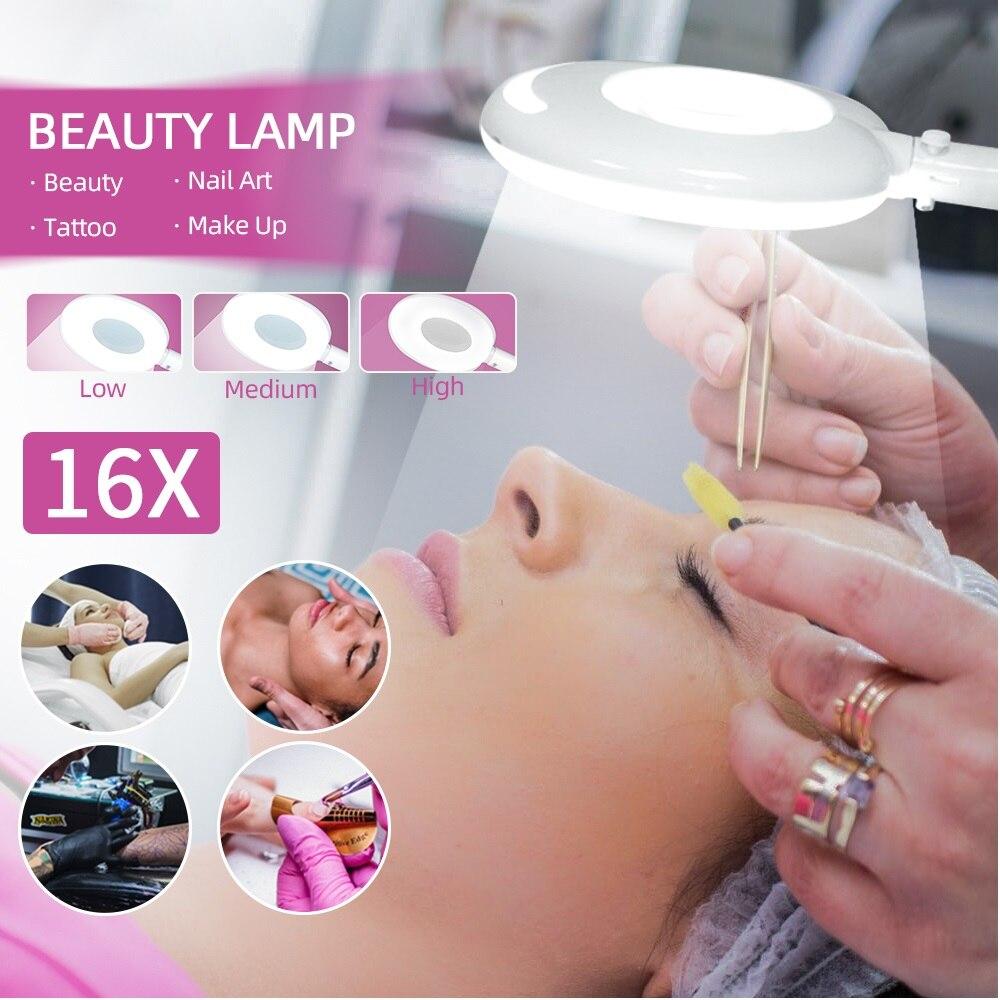 16X Magnifier Cold Light Floodlight Facial&Body Beauty Salon Spotlight Makeup Nail Art Tattoo Micro-Whole Magnifying Cold Lamp