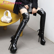 Knee-Boots Platform White Shoes High-Heels Women Winter Fashion Lasyarrow Two-Way-Wear