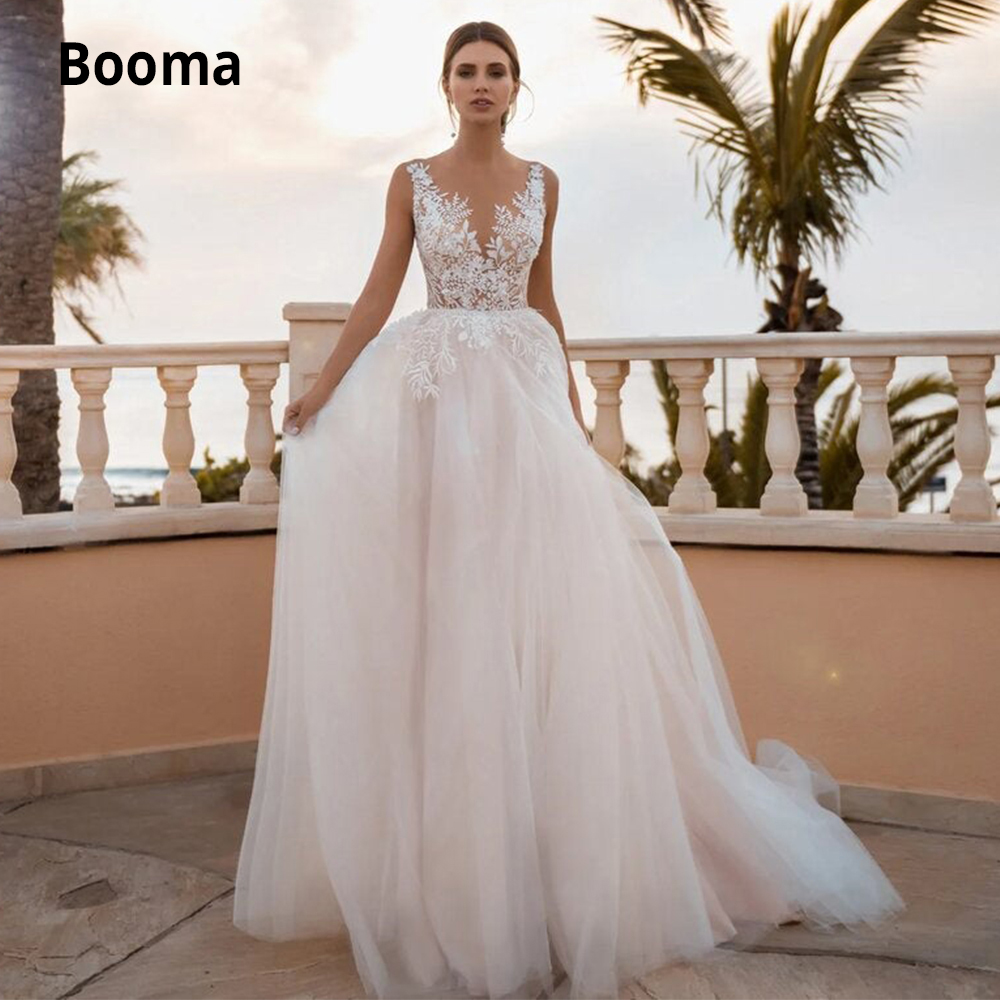 Booma A-line  Wedding Dresses Lace Appliqued Tulle Bohemian Bridal Gowns Sleeveless Beach Wedding Gown Princess Party Dress