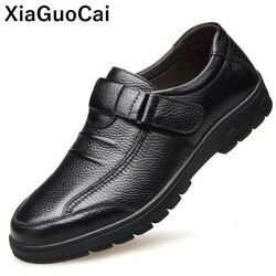 Primavera Outono Homem Sapatos de Couro Genuíno Sapatos Casuais Homens Não-slip Hook & Loop Calçados Do Homem de Alta Qualidade do Sexo Masculino flats Nova Chegada