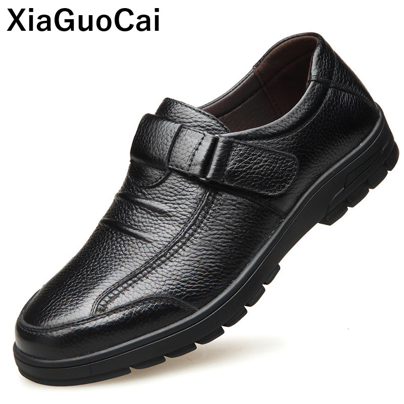 Spring Autumn Man <font><b>Shoes</b></font> Genuine Leather Casual <font><b>Shoes</b></font> <font><b>Men</b></font> Non-slip Hook & Loop Mans Footwear High Quality Male Flats New Arrival image