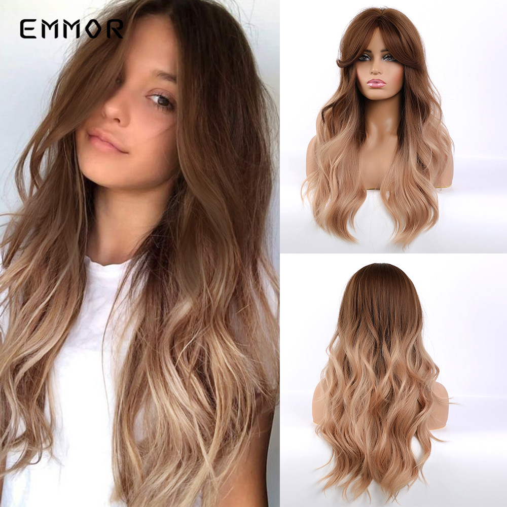 Emmor Long Brown Blonde Ombre Synthetic Wigs With Bangs Layered Wavy Heat Resistant Hair Cosplay Daily Wig For White Black Women
