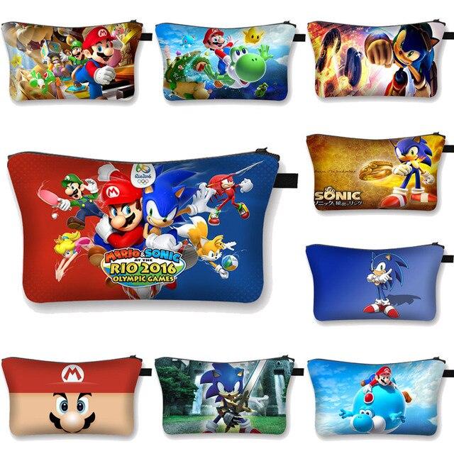 Anime Super Mario Sonic Cosmetic bag woman Super Mario Bag Cartoon  Makeup Box Storage Pouch  girls Makeup Bag