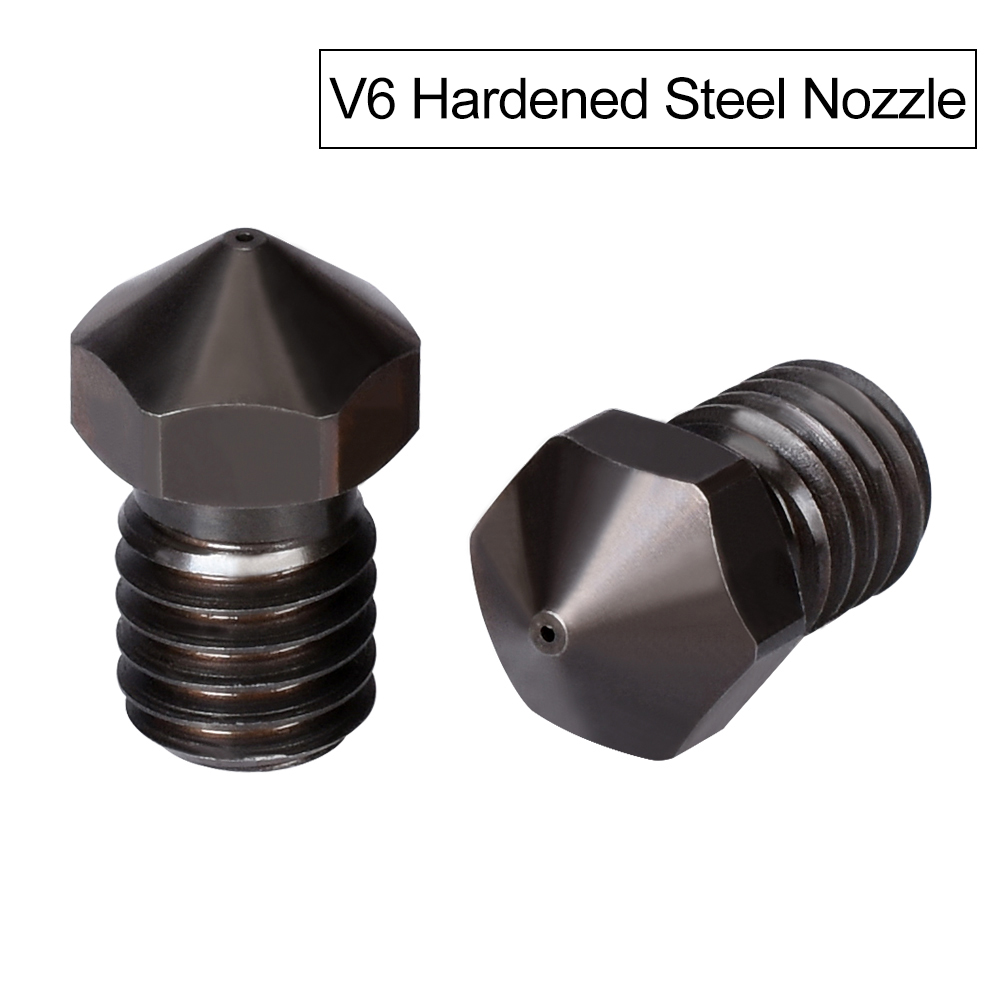 High Quality V6 Nozzle Hardened Steel V5 3D Printer Parts PEI PEEK Carbon Fiber 1.75mm 0.4mm Filament M6 For E3D Titan Hotend