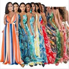 Grande Taille D'été Femmes Long Robe Longue Col En V Imprimé Nuit Club Fête Plage Sexy Élégante Rue Bohème Robes GL8212