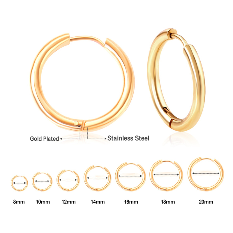 ASONSTEEL Gold/Silver Round Circle Hoop Earrings Size 8mm To 20mm Stainless Steel Anti-allergy Small Earring Brinco Bijoux Party