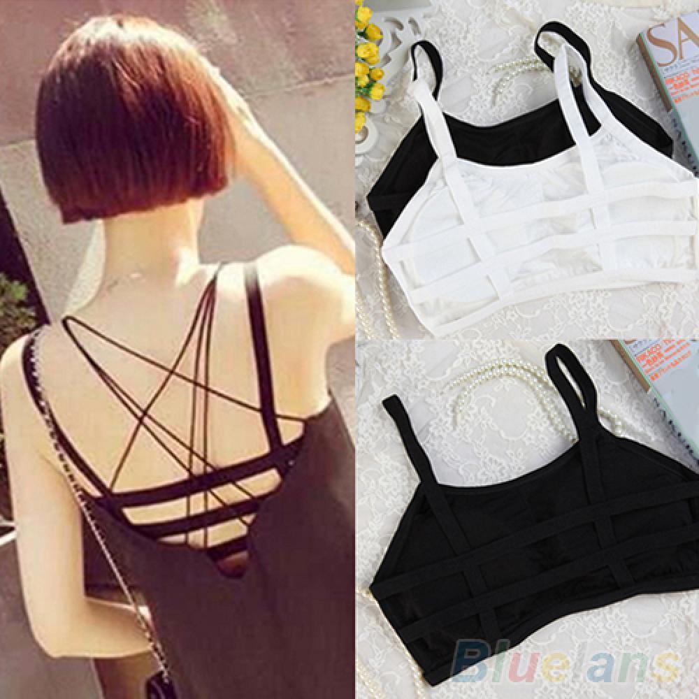 80% Hot Sales Women Sexy Sporty Hollow Stripes Padded Bra Tank Top Sleeveless Mini Summer Vest