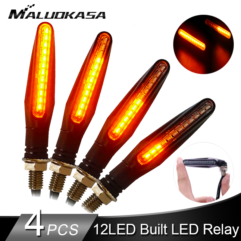 4PCS Motorcycle Turn Signals Light 12*335SMD Tail Flasher LED Flowing Water Blinker IP68 Bendable Motorcycle Flashing Lights
