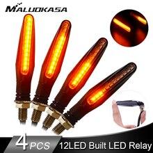 4 шт. светодиодный светильник поворотников для мотоцикла 12* 335SMD хвост мигалка течет вода мигалка IP68 гибкая мотоциклетный мигающий светильник s