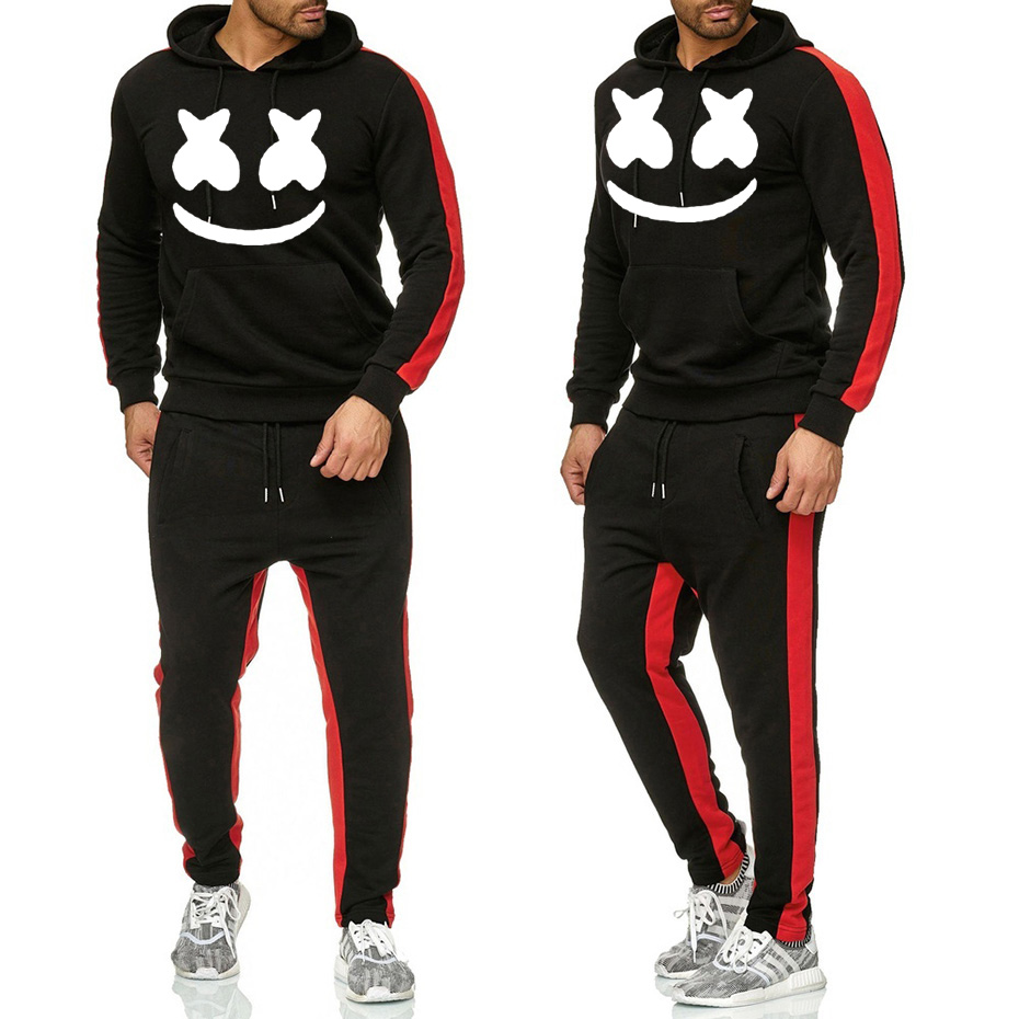 Spring And Autumn Men's Sports Suit Drawstring Hoodie Suit Sportswear 2020 Men's Pullover Two Piece Casual Wear