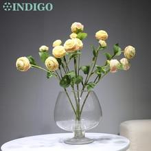 цена на INDIGO- 5 Stmes  Champagne Wedding Flower (1stem 3 flowers) Silk Rose Peony Spray Tea Rose Floral Party Flower Free Shipping