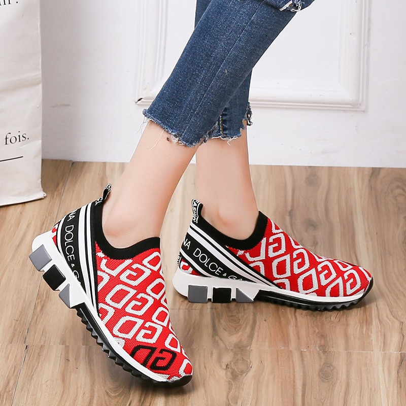 2019 Autumn New Women Shoes Flat Casual Slip-On Sneakers Breathable Stretch Mesh Socks Shoes White Sneakers