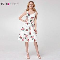 Короткие платья для выпускного вечера Ever Pretty EP05960WH Элегантное коктейльное платье без рукавов с v-образным вырезом и цветочным принтом длино...
