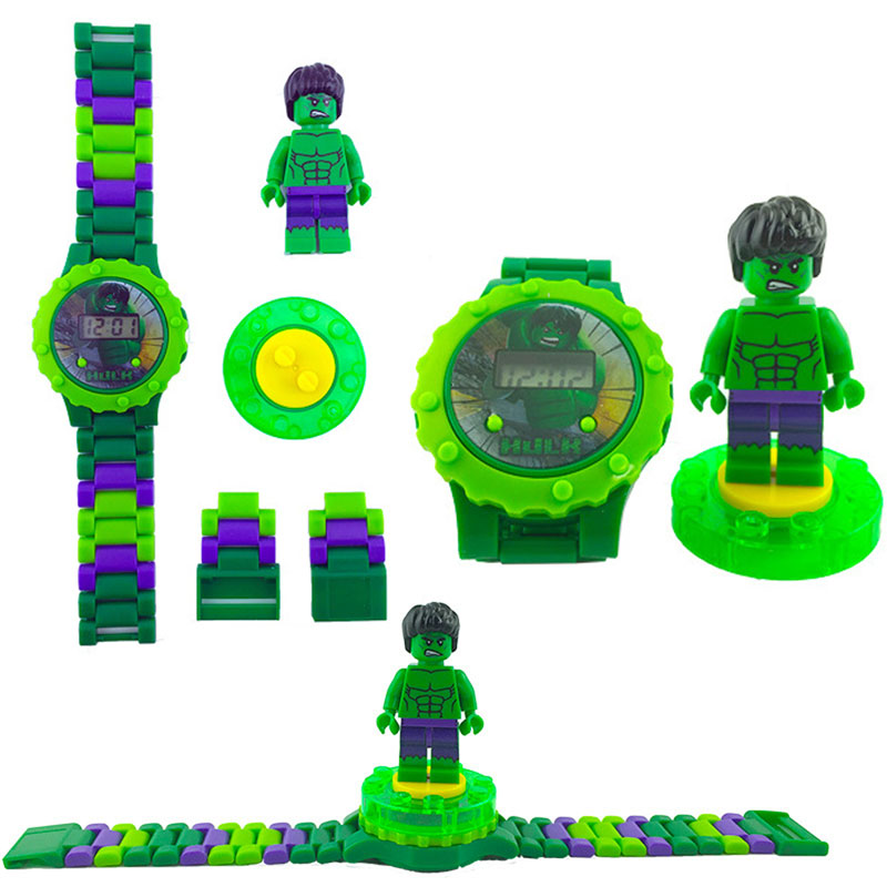 N0010 Children Watch Spiderman Batman Hulk Moana Princess Building Blocks Figures Children Watch Toys Kids Watch