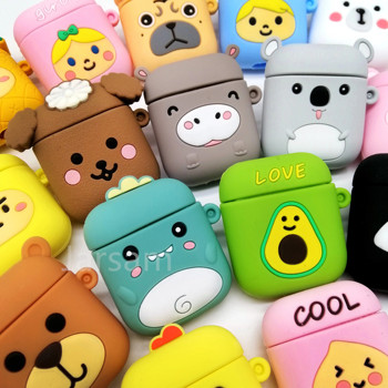 Cartoon Cute Wireless Earphone Case For AirPods 2 Silicone Charging Headphones Case for Air pods cases Protective luxury Cover 3d lucky rat cartoon bluetooth earphone case for airpods pro cute accessories protective cover for apple air pods 3 silicone