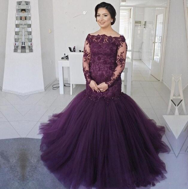 Robe De Soiree Grape Purple Mermaid Mother Of The Bride Dresses Lace Sheer Long Sleeves Plus Size Tulle Prom Evening Gown