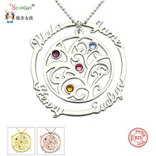 StrollGirl Family Tree of Life Necklaces Custom engraved Name Birthstones Pendants 925 Silver Chain Jewelery Gift for Family New family life