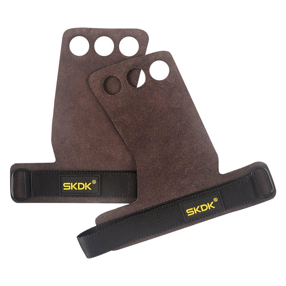 SKDK Cowhide Gym Grips Gloves Weightlifting Bodybuilding Fitness Gloves Crossfit Training Pull-up Gymnastics Workout Gloves