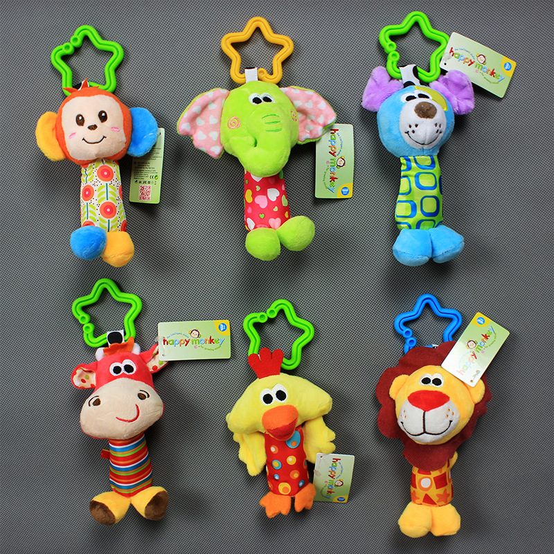 Animal Bang Hand Rattle Infant Finger Rattle Toy Car Baby Mobiles Educational Rattle 0.03