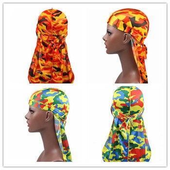 1PC Print Men's Silky Durags Turban Valentines Gift Headband Fashion Camo Free Size Headwear Elastic Comfortable Soft Adjustable 1